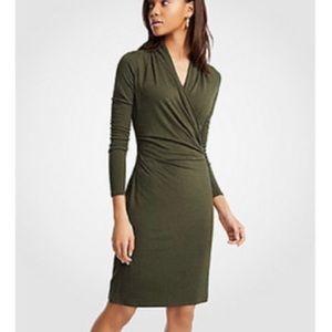 Banana republic faux wrap long sleeve dress olive